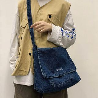 Denim Lettering Messenger Bag