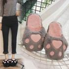 Paw Applique Furry Slippers