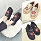 Lips Embroidered Furry Loafers