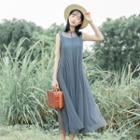 Plain Sleeveless Midi Mesh Dress