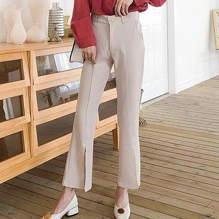 Cropped Front-slit Boot Cut Pants