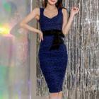 Sleeveless Patterned Ribbon Bodycon Dress