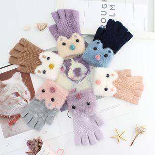 Chenille Cat Fingerless Gloves