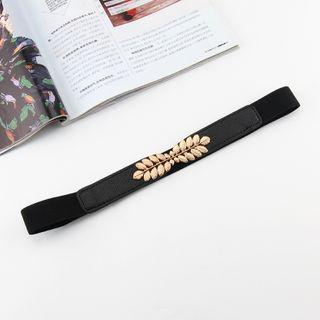 Alloy Leaf Faux Leather Elastic Belt Black - One Size