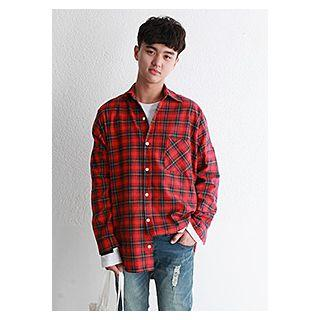 Pocket-front Drop-shoulder Check Shirt