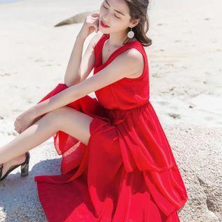 Sleeveless Asymmetric Hem Chiffon Dress
