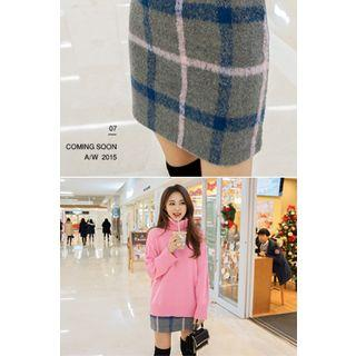 Checked Wool Blend Mini Skirt