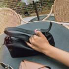 Zipped Pleather Shoulder Bag Black - One Size