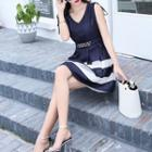 Sleeveless Tie-shoulder Buckled Dress
