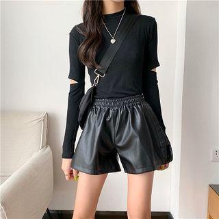 Plain High-waist Faux Leather Shorts Black - One Size