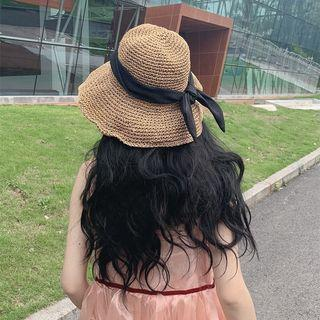 Bow-accent Foldable Straw Hat