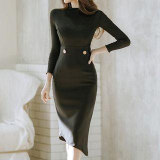 Asymmetric Long-sleeve Sheath Dress