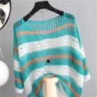 Elbow-sleeve Striped Pointelle Knit Top