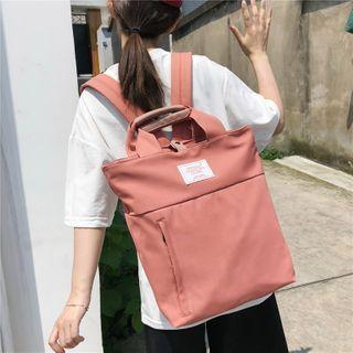 Patch Top Handle Nylon Backpack
