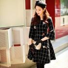 Crystal Applique Check Woolen A-line Dress