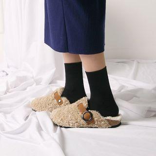 Belted Sherpa-fleece Slide Sandals