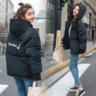 Printed Hooded Buttoned Padded Coat