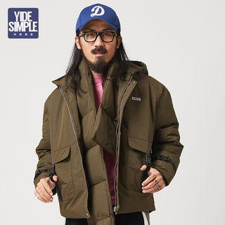 Set: Applique Hooded Padded Jacket + Scarf