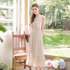 Sleeveless Ruffle Panel Tie-up Dress