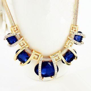 Rhinestone Gemstone Statement Necklace