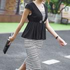 Peplum Paneled Stripe Midi Dress