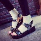 Patent Velcro Platform Sandals
