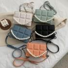 Faux Leather Faux Pearl Strap Crossbody Bag