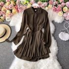Plain Pleated A-line Dress With Belt
