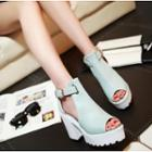Cutout Chunky Heel Platform Sandals