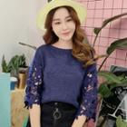 Hollow Out Lace Panel Elbow-sleeve Sweater