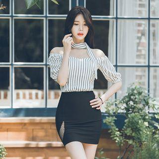 Set: Off-shoulder Striped Top + Skirt