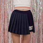 Inset Shorts Letter Pleated Mini Skirt