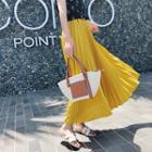 Pleated Chiffon A-line Midi Skirt