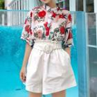 Elbow-sleeve Floral Print Shirt / Wide-leg Shorts
