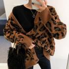 Leopard Pattern Waffle-knit Cardigan