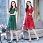 Floral Short-sleeve A-line Midi Chiffon Dress