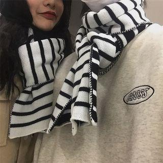 Couple Matching Striped Knit Scarf Two-tone - Black & White - One Size