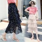 Printed Chiffon Tiered Midi Skirt