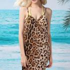 Leopard-print Sleeveless Dress Brown - One Size