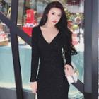 Long-sleeve Glitter Mini Bodycon Knit Dress