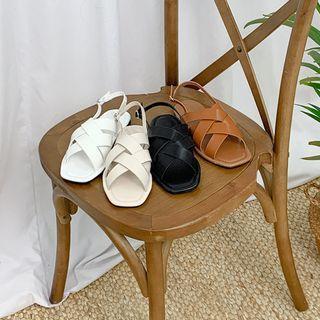 Weaving Slingback Flat Sandals