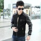 Faux Leather Sleeve Zip Jacket