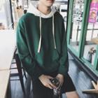Long-sleeve Contrast Hooded Top