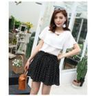 Chiffon Dotted A-line Skirt