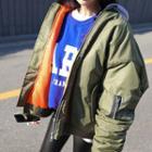 Shirred-sleeve Oversized Flight Jacket
