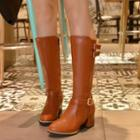 Buckled Chunky-heel Tall Boots