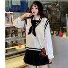 Shirt / Knit Vest / Pleated Skirt