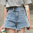 Fringed Seam-trim Denim / Cotton Shorts
