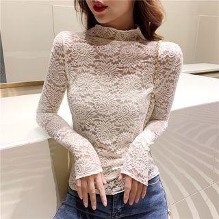 Long-sleeve Plain Lace Top