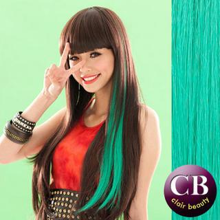 Hair Extension - Long & Straight Green - One Size